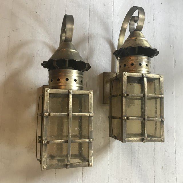 1990s Vintage Outdoor Brass Lanterns - A Pair For Sale - Image 4 of 5