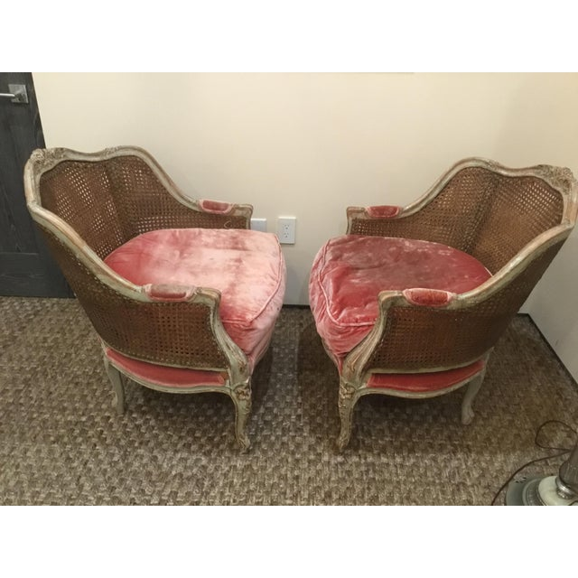 Pair of French Bergere chairs. Beautiful patina with carved frame. Cane in great shape.