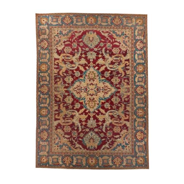 Red Ground Agra Medallion Carpet For Sale