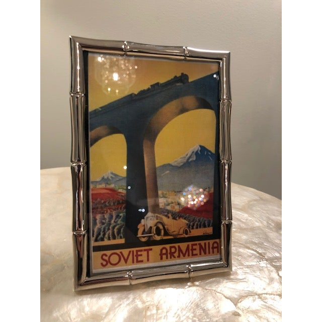 Art Deco 1980s Vintage Silverplate Bamboo Frame W/ Picture Included For Sale - Image 3 of 4