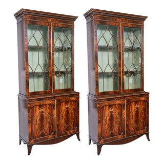 Regency Style Pair of Wood Inlaid Cabinets, A-Pair For Sale