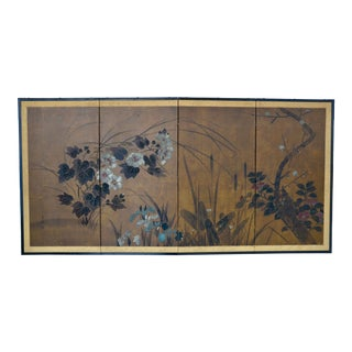 Japanese Four-Panel Folding Byobu Screen, Signed, Showa Period For Sale