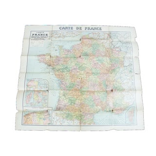 Antique 1920s Wall Map of France For Sale