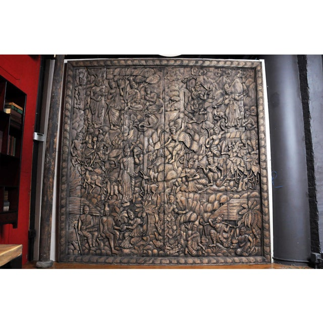 Monumental Southeast Asian Teakwood Figurative Panel of Buddha For Sale - Image 13 of 13