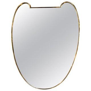 Italian Minimal Curvilinear Brass Mirror, 1950s For Sale