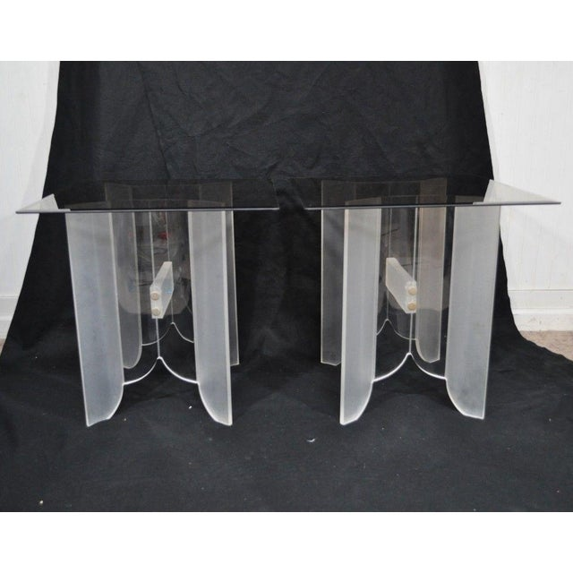 Vintage Pair Mid Century Modern Frosted Lucite & Glass Butterfly End Side Tables For Sale In Philadelphia - Image 6 of 11