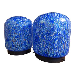 Pair of Gae Aulenti for Vistosi Murano Blue Murrine Table Lamps For Sale