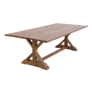 Arts and Crafts Custom Farm Table in Vintage Reclaimed Pine For Sale