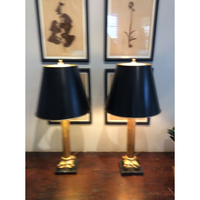 Wood Gilded Column Lamps on Marble Bases With Black, Gold-Lined Shades - a Pair For Sale - Image 7 of 8
