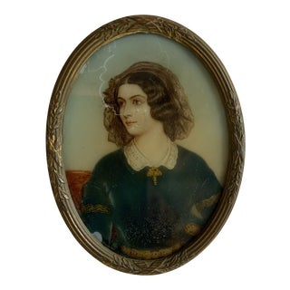 19th C. Portrait Miniature Painting of a Woman For Sale