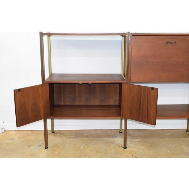 1960s Large Four Bay George Nelson Walnut and Bronze Omni System For Sale - Image 5 of 13