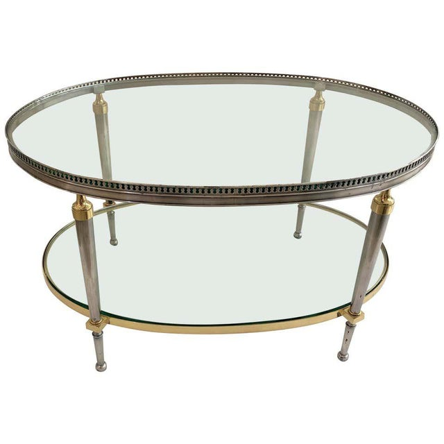 Trouvailles Steel and Brass Oval Cocktail Table For Sale - Image 12 of 13