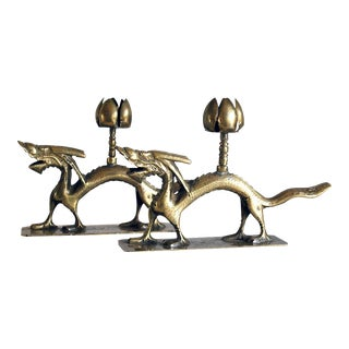 Antique Chinese Brass Dragon Candle Holders - A Pair For Sale