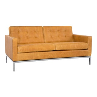 Florence Knoll Leather Settee For Sale