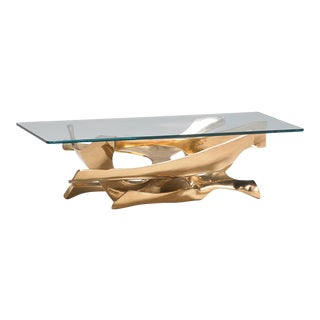 1970s Abstract Fred Brouard Superb Sculptural Bronze and Glass Coffee Table For Sale