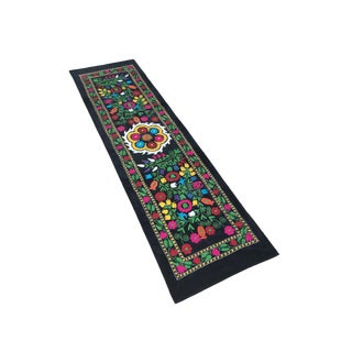 Velvet Suzani Fabric / Colorful Table Runner For Sale
