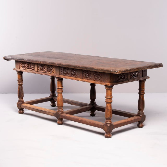Walnut Portuguese All Original 18th Century Carved Walnut Table For Sale - Image 7 of 13