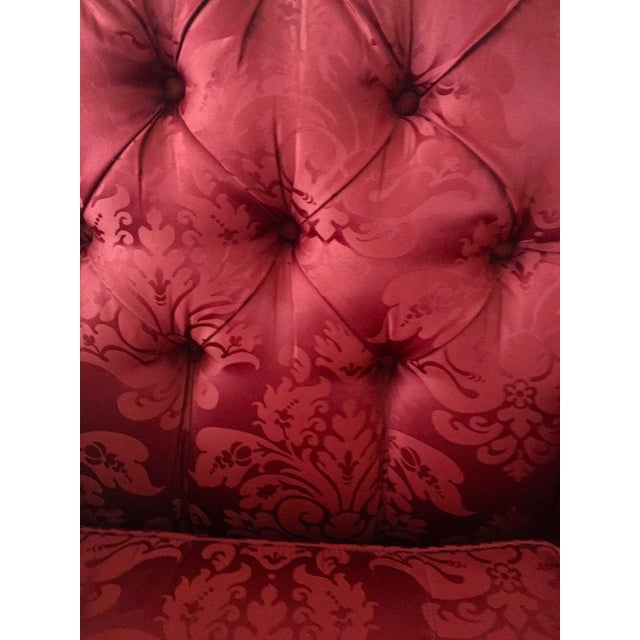 Custom Red Damask Sofa by Lee Industries - Image 2 of 2