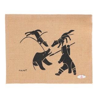Helen Kalvak Inuit Print on Burlap - Bear Hunt For Sale