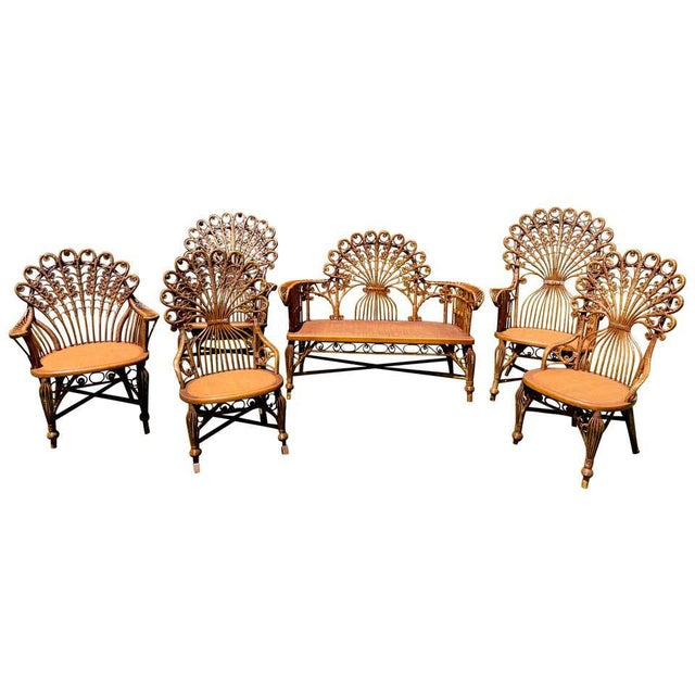 High Victorian Wicker Parlour Set - Set of 6 For Sale - Image 13 of 13