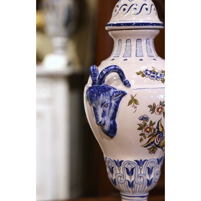 """Pair of Mid-Century French Hand Painted Faience """"Saint Clement"""" Urns With Lids For Sale - Image 10 of 13"""