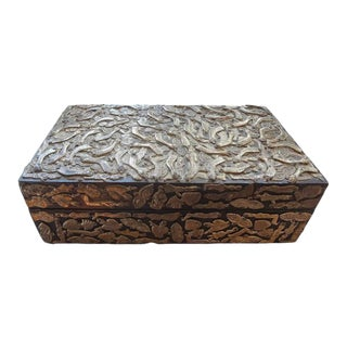 1940's Vintage Mexican Wood Box With Applied Milagros For Sale