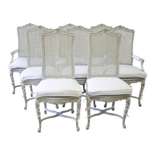 1920s Louis XV White Caned Back Dining Chairs - Set of 8