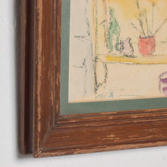 Modern Mid Century Vintage Still Life Drawing Yellow Purple Lithograph For Sale - Image 4 of 9