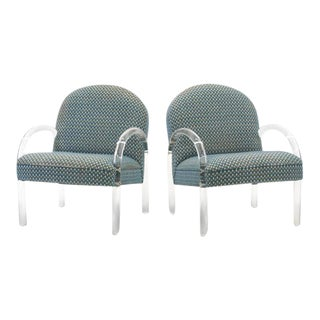 Pace Collection Lucite Armchairs, Pair For Sale
