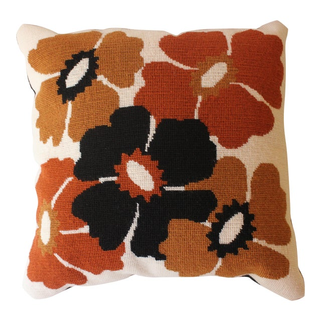 Mod Poppy Needlepoint Pillow - Image 1 of 6