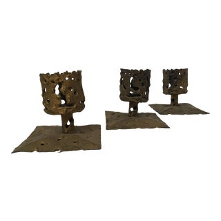 Vintage Mid-Century Brutalist Candle Holders - Set of 3 For Sale
