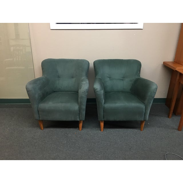 Design Plus Gallery has a pair of Soderberg arm chairs. The chairs have been upholstered in a Green Micro Fiber in a...