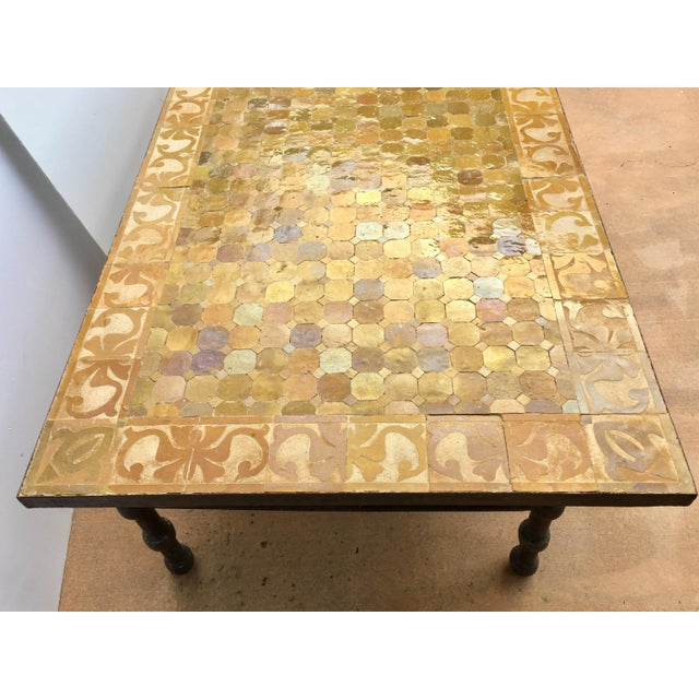 Vintage Moroccan Mosaic Brown Tile Rectangular Coffee Table For Sale In Los Angeles - Image 6 of 12