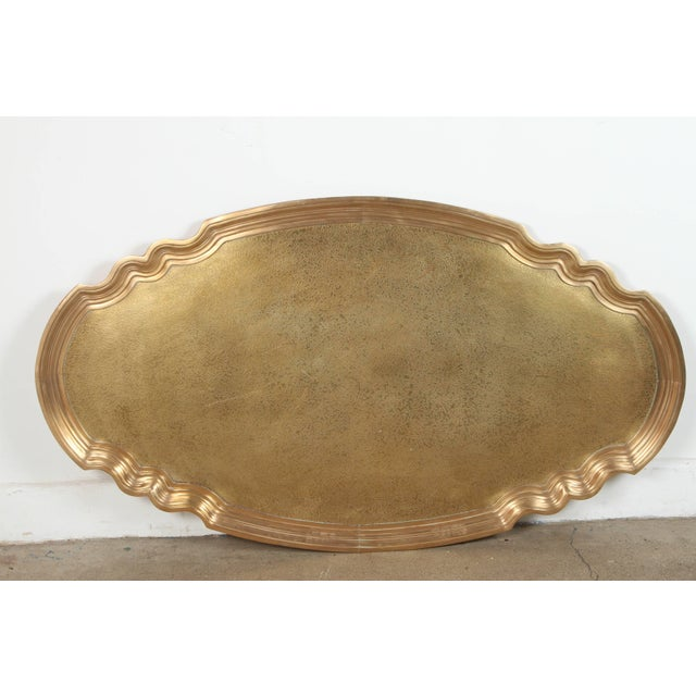 1970s Hollywood Regency Baker Brass Tray Table For Sale - Image 9 of 10