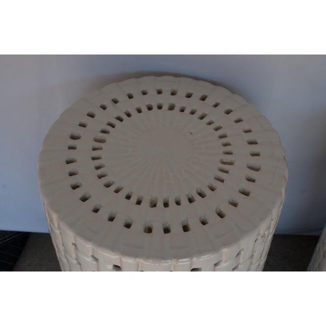 1980s Hollywood Regency Basketweave Ceramic Garden Stools - a Pair For Sale - Image 4 of 5
