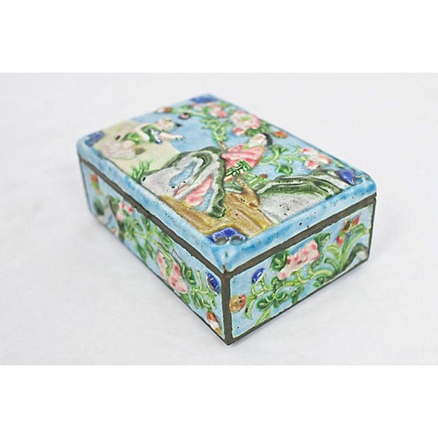 Asian Antique Enamelware Box For Sale - Image 3 of 8