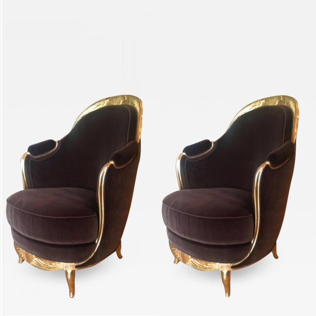 Early French Art Deco Astounding Pair of Gold Leaf Armchairs For Sale - Image 9 of 9