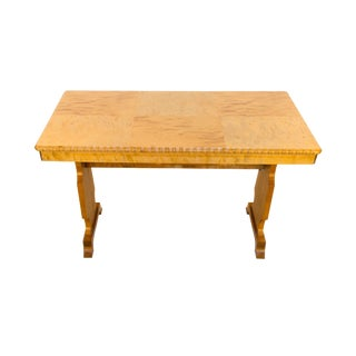 Birch Art Deco Table With Parquetry Veneered Top For Sale