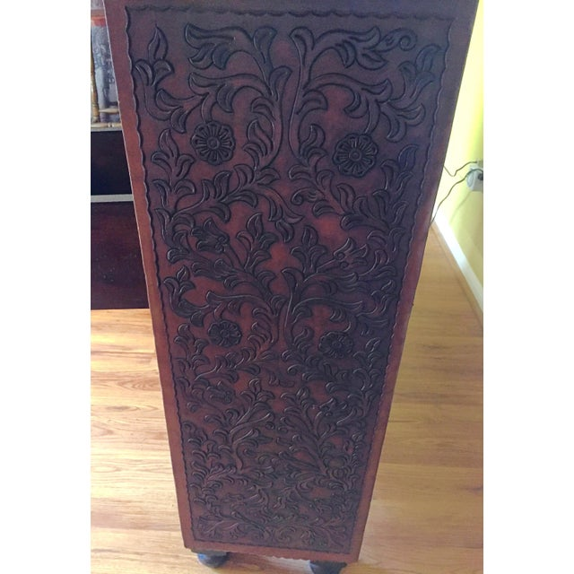 Mid-Century Modern Hand Tooled Leather Bar With Intricate Floral Design, Made in Peru For Sale - Image 3 of 9