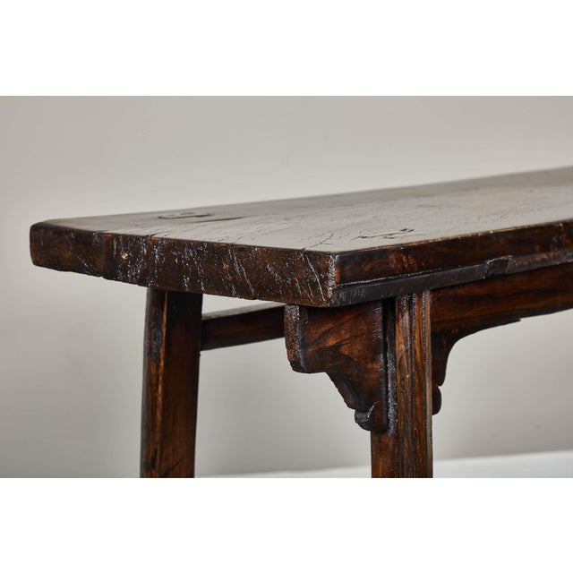 Brown 18th Century Chinese Elm Altar Table For Sale - Image 8 of 11