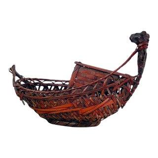 Japanese Meiji Period Ikebana Boat Basket, Circa 1880 For Sale