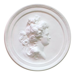 Swedish Plaster Portrait Medallion For Sale