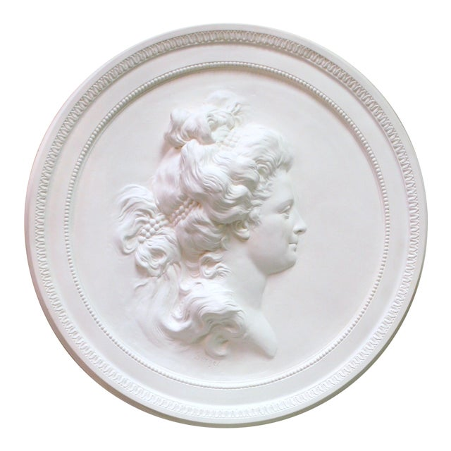 Swedish Plaster Portrait Medallion For Sale