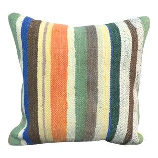 Vintage Turkish Anatolia Cotton Striped Kilim Pillow For Sale
