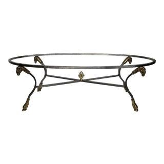 Maison Jansen Style Steel Ram's Head Coffee Table Base For Sale