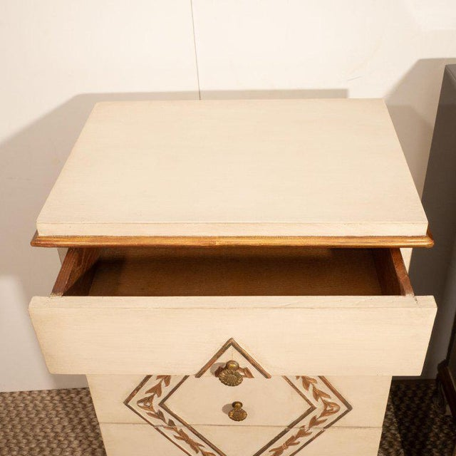 1940s Pair of Directoire Style Painted Bedside Tables For Sale - Image 5 of 9