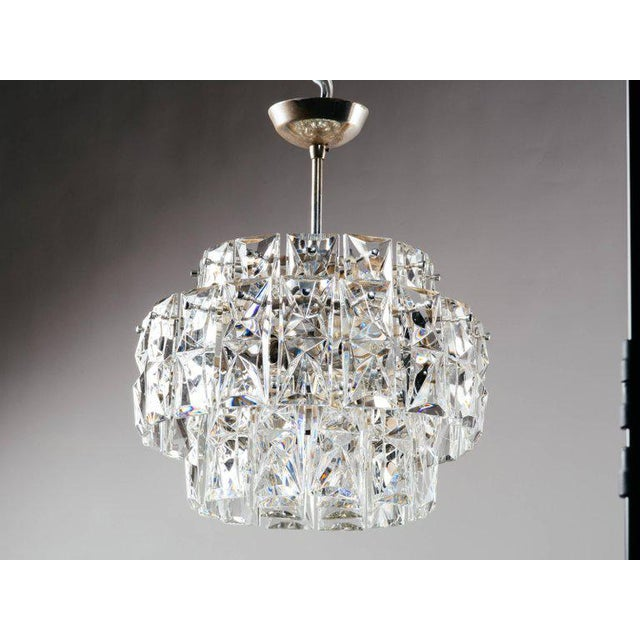 Chrome German Mid-Century Modern Faceted Crystal Chandelier by Kinkeldey For Sale - Image 7 of 11