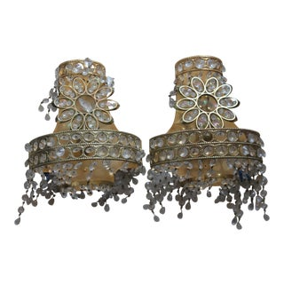 """1960's Mid Century Modern 24k Plate Crystal with Flower Wall Sconces by """"Palwa""""- a Pair For Sale"""