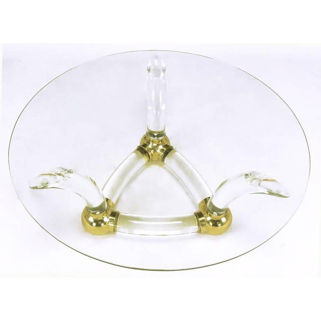 Round Coffee Table With Thick Curved Lucite & Brass Ball Base For Sale - Image 4 of 8