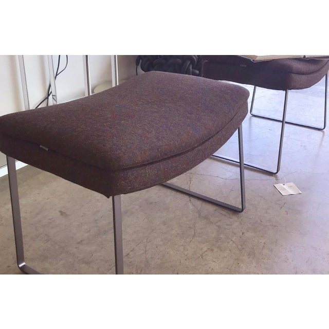 Contemporary B&b Italia Eggplant Wool Upholstered Ottoman With Bronze Nickel Painted Base For Sale - Image 3 of 5